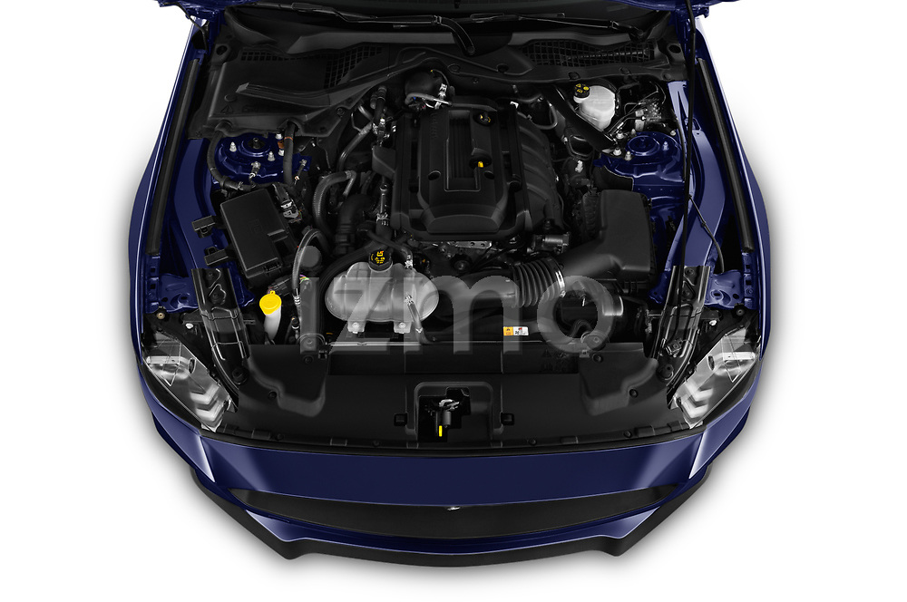 Car stock 2018 Ford Mustang Fastback Ecoboost 2 Door Coupe engine high angle detail view