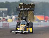 Aug 20, 2017; Brainerd, MN, USA; NHRA top fuel driver Tony Schumacher during the Lucas Oil Nationals at Brainerd International Raceway. Mandatory Credit: Mark J. Rebilas-USA TODAY Sports
