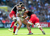 Harry Williams of Exeter Chiefs is double-tackled. Aviva Premiership Final, between Saracens and Exeter Chiefs on May 28, 2016 at Twickenham Stadium in London, England. Photo by: Patrick Khachfe / JMP