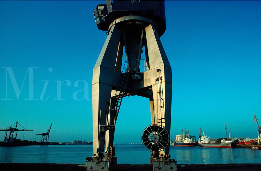 .Dockside crane in the port of Cadiz, southern Spain...