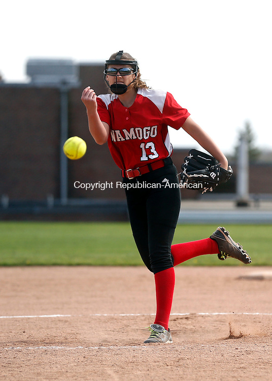 Litchfield, CT- 06 May 2015-050615CM06-  Wamogo's Cyrena Zemaitis delivers a pitch against Northwestern on Litchfield in Wednesday.   Christopher Massa Republican-American