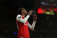 28th November 2019; Emirates Stadium, London, England; UEFA Europa League Football, Arsenal versus Frankfurt; Joe Willock of Arsenal reacts as his shot goes wide - Editorial Use