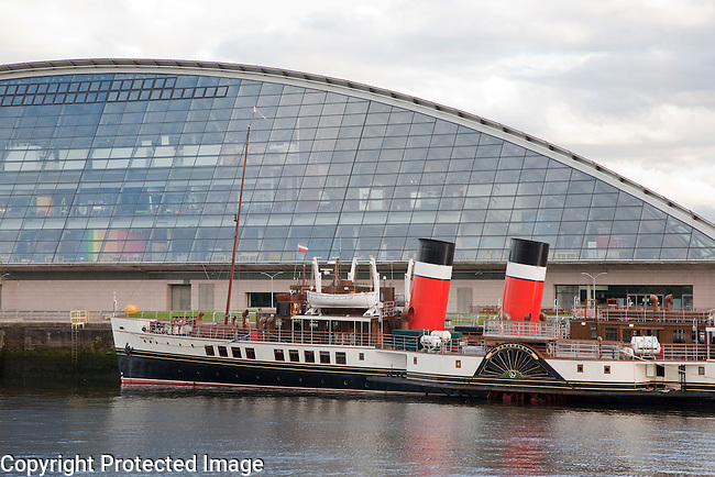 HMS Waverly and the Glasgow Science Centre on the River Clyde, Glasgow