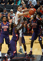 Virginia forward/center Mike Tobey (10) reaches for a rebound during an ACC basketball game Jan. 13, 2015 in Charlottesville, VA Virginia won 65-42.