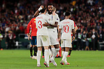 England's Ben Chilwell (L) and Nathaniel Chalobah (R) celebrate the victory during UEFA Nations League 2019 match between Spain and England at Benito Villamarin stadium in Sevilla, Spain. October 15, 2018. (ALTERPHOTOS/A. Perez Meca)