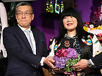 """May 4, 2016, Tokyo, Japan - American fashion designer Anna Sui (R) smiles with Japan's largest department store chain Mitsukoshi-Isetan holdings president Hiroshi Onishi as she attends the opening ceremony of her brand's special event """"Anna Sui Party"""" at the Isetan department store in Tokyo on Wednesday, May 4, 2016. Isetan celebrated the 20th anniversary of Anna Sui brand's launching in Japan.  (Photo by Yoshio Tsunoda/AFLO) LWX -ytd-"""
