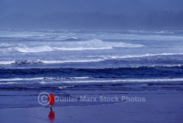 Person walking on Beach near Long Beach and Tofino, West Coast of Vancouver Island, BC, British Columbia, Canada (Model Released)