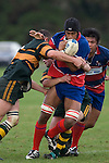 Sikeli Nabou is tackled by Brendon Farrell & Blair Feeney. Counties Manukau Premier Club Rugby semi final game between Ardmore Marist & Pukekohe played at Bruce Pulman Park Papakura on Saturday July 19th 2008. Ardmore Marist won 18 - 15 & will meet Patumahoe in the final next weekend.