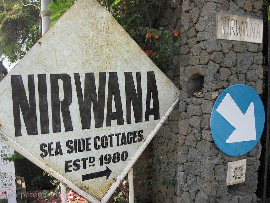 sign of a Hotel called Nirwana at Lovina beach, North Bali, archipelago Indonesia