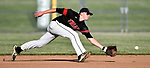 Triad's Josh Wittenauer reaches for infield hit but can't quite come up with the catch. Triad defeated Waterloo 4-2 in a Class 3A Baseball Regional semifinal baseball game on Thursday May 24, 2018. Tim Vizer | Special to STLhighschoolsports.com