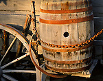 Water barrel on a wagon on display at the Borax Museum. Death Valley National Monument Est. February 11, 1933. Est. as Death Valley National Park in 1994; 5,270 square miles (13,649 km2). Inyo County, CA.