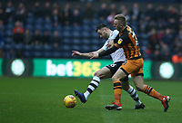Preston North End's Andrew Hughes battles with Hull City's Jarrod Bowen<br /> <br /> Photographer Stephen White/CameraSport<br /> <br /> The EFL Sky Bet Championship - Preston North End v Hull City - Wednesday 26th December 2018 - Deepdale Stadium - Preston<br /> <br /> World Copyright &copy; 2018 CameraSport. All rights reserved. 43 Linden Ave. Countesthorpe. Leicester. England. LE8 5PG - Tel: +44 (0) 116 277 4147 - admin@camerasport.com - www.camerasport.com