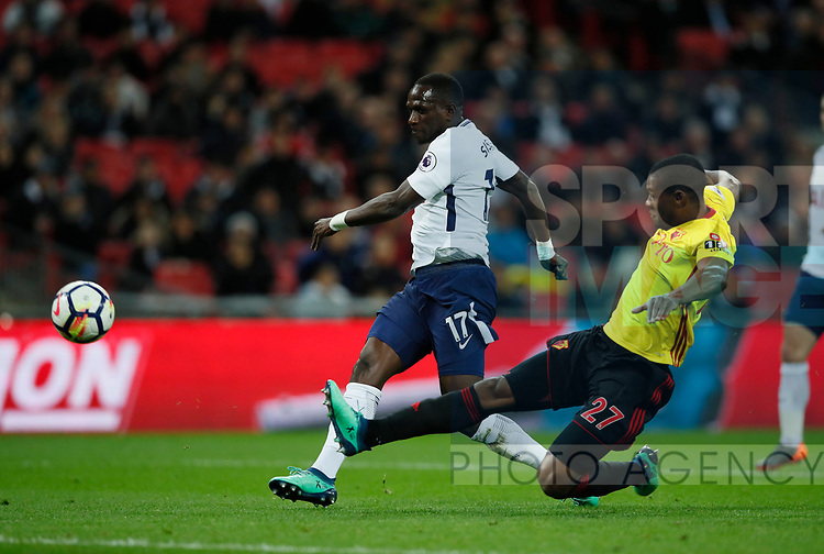 Moussa Sissoko of Tottenham goes through and misses the goal during the premier league match at Wembley Stadium, London. Picture date 30th April 2018. Picture credit should read: David Klein/Sportimage