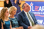 WATERBURY, CT. 18 July 2019-071819 - Waterbury Mayor Neil O'Leary, right looks on with his family by his side, during the Waterbury Democratic Town Committee meeting of picking its slate of candidates for this years elections at the Waterbury Portuguese Sport Club in Waterbury on Thursday. Bill Shettle Republican-American