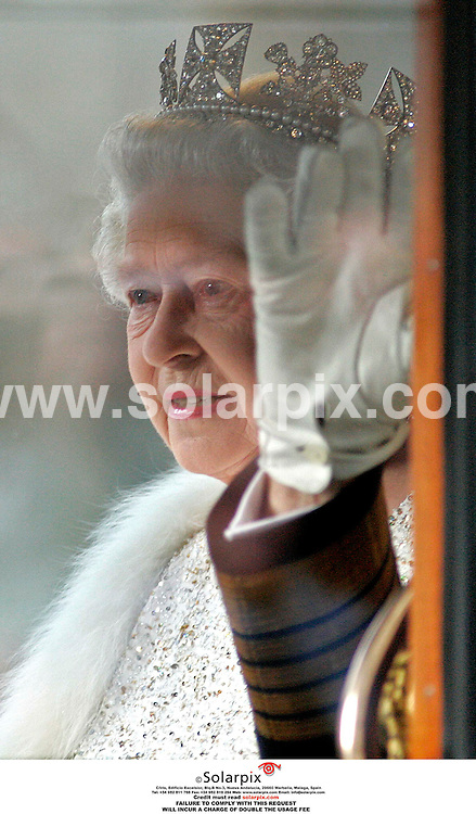 "ALL ROUND PICTURES FROM SOLARPIX.COM.**NO PUBLICATION IN FRANCE, SCANDANAVIA, AUSTRALIA AND GERMANY** UK RESTRICTIONS: NO NEWSPAPER PUBLICATION, MAGAZINES ONLY**.The Queen and The Duke Of Edinburgh arrive by carriage for The State Opening Of Parliament in Westminster on 15.11.06. Job Ref: 3055/SFE..""MUST CREDIT SOLARPIX.COM OR DOUBLE FEE WILL BE CHARGED"".."