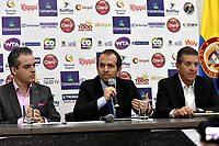 BOGOTA – COLOMBIA, 20-03-2019: David Londoño (Izq.), Director Corporativo de Mercadeo y Comunicaciones de Claro; Ernesto Lucerna (Cent.), Director Nacional de Coldeportes y Jahn Fontalvo (Der.) de Gran Slam Producciones y Director General del Claro Colsanitas WTA 2019, durante la presentación del Claro Colsanitas WTA 2019 de tenis en el auditorio Adolfo Carvajal, en Coldeportes, torneo que se realizará en las canchas del Carmel Club en la ciudad de Bogotá del 6 al 14 de abril de 2019. / David Londoño (L), Corporate Director of Marketing and Communications of Claro; Ernesto Lucerna (C), National Director of Coldeportes and Jahn Fontalvo (R) of Gran Slam Productions and General Director of Claro Colsanitas WTA 2019, during the presentation of the Claro Colsanitas WTA 2019 tennis in the auditorium Adolfo Carvajal, in Coldeportes, tournament to be held in the courts of the Carmel Club in the city of Bogotá from April 6 to 14 de 2019. / Photo: VizzorImage / Luis Ramírez / Staff.