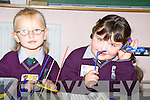 Enjoying their first day in Gaelscoil Faithlean in Killarney on Monday were Kelly Ni Shuilleabhain and Mia Ni Ifearnain.   Copyright Kerry's Eye 2008