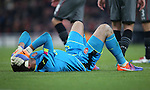 Arsenal's Emiliano Martinez holds his head after getting injured during the EFL Cup match at the Emirates Stadium, London. Picture date October 30th, 2016 Pic David Klein/Sportimage