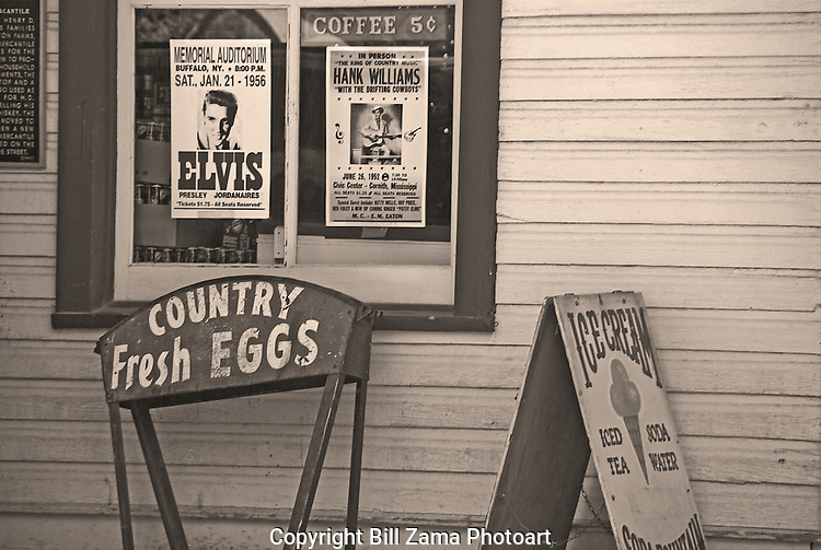 Old timey signs outside the Gruene General Store in Gruene Texas.