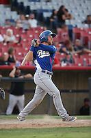 Matt Beaty (5) of the Rancho Cucamonga Quakes bats against the High Desert Mavericks at Heritage Field on August 7, 2016 in Adelanto, California. Rancho Cucamonga defeated High Desert, 10-9. (Larry Goren/Four Seam Images)
