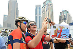 Vincenzo Nibali (ITA) Bahrain-Merida poses with a fan at sign on before the start of Stage 4 The Municipality Stage of the Dubai Tour 2018 the Dubai Tour&rsquo;s 5th edition, running 172km from Skydive Dubai to Hatta Dam, Dubai, United Arab Emirates. 9th February 2018.<br /> Picture: LaPresse/Massimo Paolone | Cyclefile<br /> <br /> <br /> All photos usage must carry mandatory copyright credit (&copy; Cyclefile | LaPresse/Massimo Paolone)