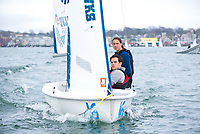 Skipper Michaella Pace and Crew Jeffrey Evans,'20, work together as Salve Regina practices in the Newport Habor.