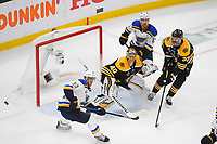 June 6, 2019: Boston Bruins goaltender Tuukka Rask (40) plays in the paint with defenseman Zdeno Chara (33) and St. Louis Blues center Brayden Schenn (10) during game 5 of the NHL Stanley Cup Finals between the St Louis Blues and the Boston Bruins held at TD Garden, in Boston, Mass. The Blues defeat the Bruins 2-1 in regulation time. Eric Canha/CSM