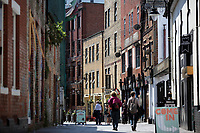 Pictured: Womanby Street, Cardiff Thursday 25 May 2017<br />Re: Preparations for the UEFA Champions League final, between Real Madrid and Juventus in Cardiff, Wales, UK.