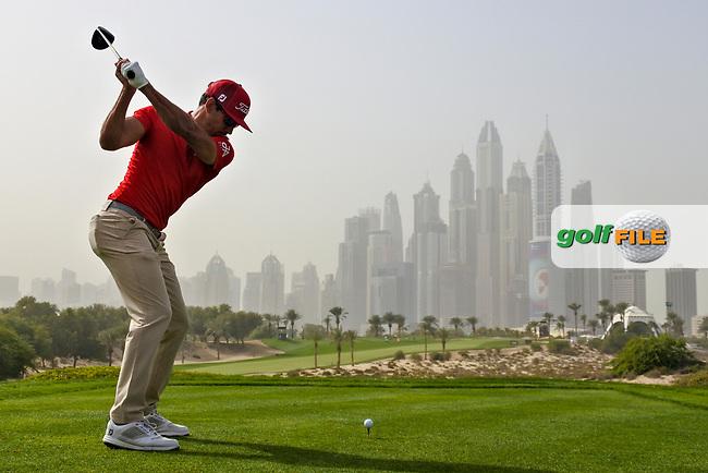 Rafa Cabrera-Bello (ESP) on the 8th tee during Round 1 of the Omega Dubai Desert Classic, Emirates Golf Club, Dubai,  United Arab Emirates. 24/01/2019<br /> Picture: Golffile | Thos Caffrey<br /> <br /> <br /> All photo usage must carry mandatory copyright credit (&copy; Golffile | Thos Caffrey)