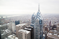 Philadelphia, PA, February 27, 2015 - A view of downtown Philadelphia from the Comcast Center on Market Street.