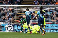 Dan Rowe of Wycombe Wanderers shoots from outside the box during the Sky Bet League 2 match between Wycombe Wanderers and Colchester United at Adams Park, High Wycombe, England on 27 August 2016. Photo by Liam McAvoy.