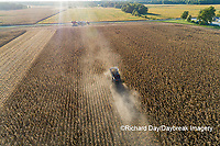 63801-12415 Harvesting corn in fall-aerial  Marion Co. IL