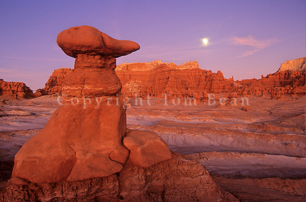 Moonrise at twilight over eroded rocks of Goblin Valley State Park, Utah, AGPix_0028.