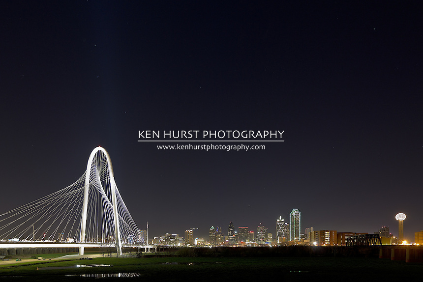 Opening celebration for the newly constructed (2012) Margaret Hunt Hill bridge, designed by Santiago Calatrava, with the night lights of Dallas, Texas in the background.