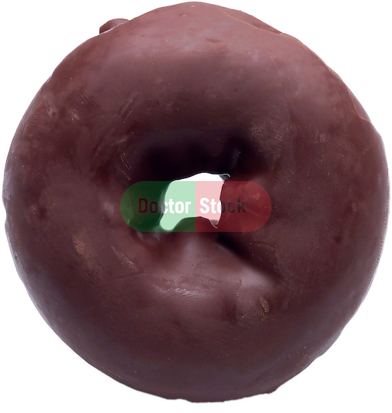 single chocolate frosted donut on shadowless white background