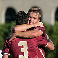 Allston, Massachusetts - October 10, 2017: NCAA Division I. Boston College (maroon) defeated Harvard University (white), 3-1, at Jordan Field.<br /> Goal celebration.