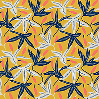 """Hummingbird In Lilies"" is a hand illustrated scalable vector surface pattern - inspired by living coral - Pantone color of the year 2019 along with summer days lilies and hummingbirds.<br />