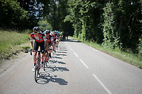 Alessandro De Marchi (ITA/BMC) pacing the peloton at the foot of the final climb of the day; the Mont du Chat (1504m/8.7km/10.3%)<br /> <br /> Stage 6: Le parc des oiseaux/Villars-Les-Dombes &rsaquo; La Motte-Servolex (147km)<br /> 69th Crit&eacute;rium du Dauphin&eacute; 2017