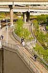 Bicyclists and Joggers on the Eastbank Esplanade, Portland, Oregon