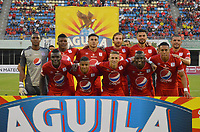 BARRANCABERMEJA  - COLOMBIA, 27-01-2019:Formación del América de Cali  frente a   Alianza Petrolera durante partido por la fecha 1 de la Liga Águila I 2019 jugado en el estadio Daniel Villa Zapata de la ciudad de Barrancabermeja. / Team of America of Cali agaisnt of  Alianza Petrolera during the match for the date 1 of the Liga Aguila I 2019 played at the Daniel Villa Zapata Stadium in Barrancabermeja  city. Photo: VizzorImage / José Martínez  / Contribuidor
