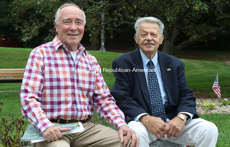 SOUTHBURY CT. 18 August 2017-081817SV01-From left, Donald Antilla of the Planning Commission and Charlie Rosa of the Parks and Recreation Commission talk about their time serving in Southbury Friday. The volunteers will soon be recognized for their longevity. <br /> Steven Valenti Republican-American