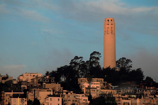 Coit Tower atop Telegraph Hill, North Beach, San Francisco, California
