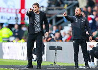 Derby County manager Frank Lampard shouts instructions to his team from the technical area<br /> <br /> Photographer Alex Dodd/CameraSport<br /> <br /> The EFL Sky Bet Championship Play-off  First Leg - Derby County v Leeds United - Thursday 9th May 2019 - Pride Park - Derby<br /> <br /> World Copyright © 2019 CameraSport. All rights reserved. 43 Linden Ave. Countesthorpe. Leicester. England. LE8 5PG - Tel: +44 (0) 116 277 4147 - admin@camerasport.com - www.camerasport.com