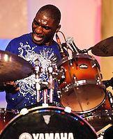 Cedric Burnside and Lightin' Malcolm playing at Voodoo Festival 2010 in New Orleans on Day 1.