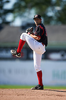 Batavia Muckdogs pitcher Cody Poteet (38) delivers a warmup pitch during the first game of a doubleheader against the Mahoning Valley Scrappers on July 2, 2015 at Dwyer Stadium in Batavia, New York.  Batavia defeated Mahoning Valley 4-1.  (Mike Janes/Four Seam Images)