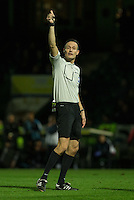 Referee Darren Deadman during the Sky Bet League 2 match between Yeovil Town and Wycombe Wanderers at Huish Park, Yeovil, England on 24 November 2015. Photo by Andy Rowland.