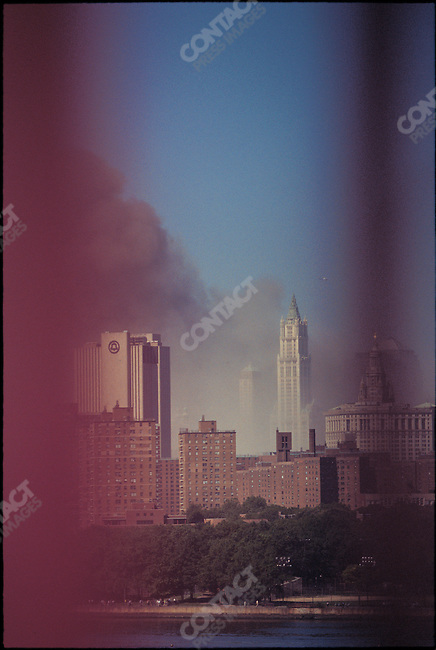 Attack on the World Trade Center, view from Williamsburg Bridge, after the collapse of both towers, New York City, New York, USA, September 11, 2001