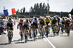 The peloton led by Luke Rowe (WAL) and Team Sky in action during Stage 14 of the 2018 Tour de France running 188km from Saint-Paul-Trois-Chateaux to Mende, France. 21st July 2018. <br /> Picture: ASO/Pauline Ballet | Cyclefile<br /> All photos usage must carry mandatory copyright credit (&copy; Cyclefile | ASO/Pauline Ballet)