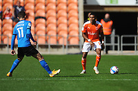 Blackpool's Grant Ward under pressure from Swindon Town's Jonny Smith<br /> <br /> Photographer Kevin Barnes/CameraSport<br /> <br /> The EFL Sky Bet League One - Blackpool v Swindon Town - Saturday 19th September 2020 - Bloomfield Road - Blackpool<br /> <br /> World Copyright © 2020 CameraSport. All rights reserved. 43 Linden Ave. Countesthorpe. Leicester. England. LE8 5PG - Tel: +44 (0) 116 277 4147 - admin@camerasport.com - www.camerasport.com