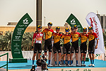 Bahrain-McLaren before the start of Stage 5 of the Saudi Tour 2020 running 144km from Princess Nourah University to Al Masmak, Saudi Arabia. 8th February 2020. <br /> Picture: ASO/Kåre Dehlie Thorstad   Cyclefile<br /> All photos usage must carry mandatory copyright credit (© Cyclefile   ASO/Kåre Dehlie Thorstad)